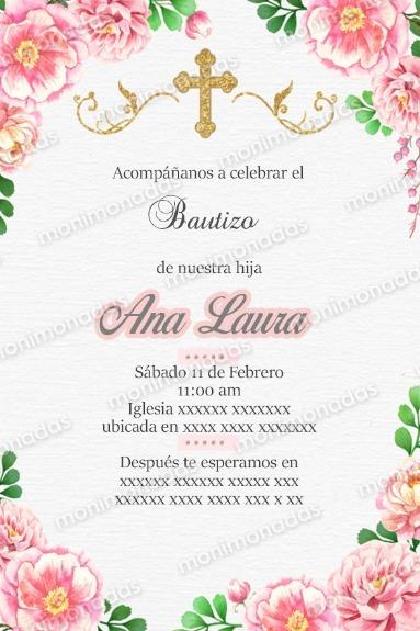 Invitaciones Bautizo Digital Imprimible Y Para Whats App