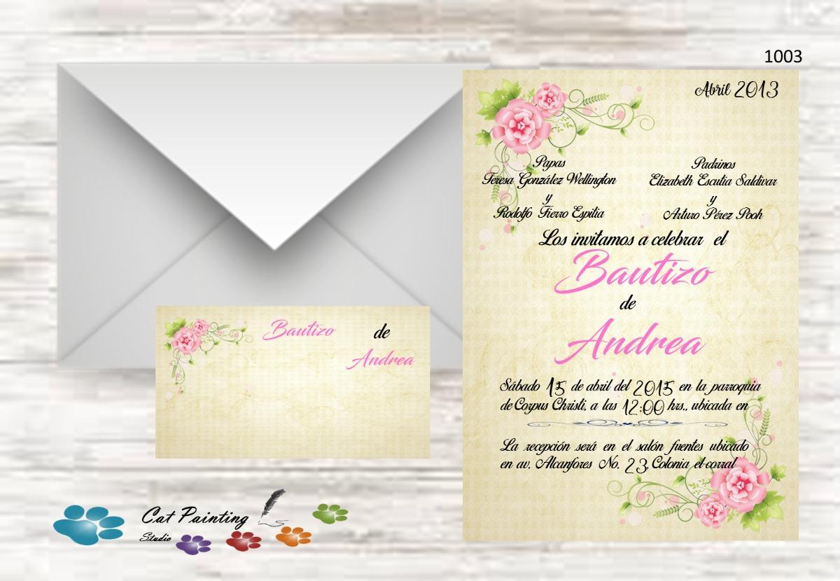 Invitaciones Bautizo Para Imprimir Flores Vintage