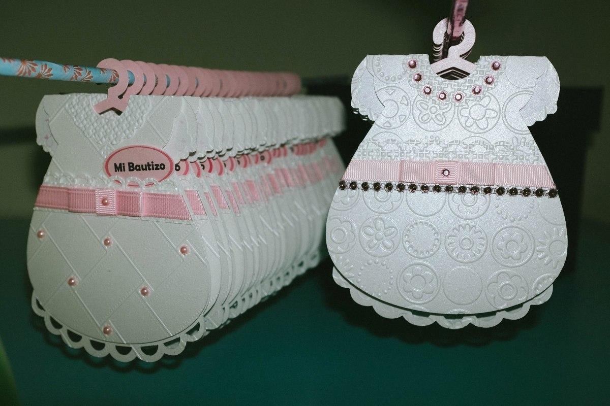 Invitaciones Bautizo Tipo Vestidito Ropon Elegante - $ 35