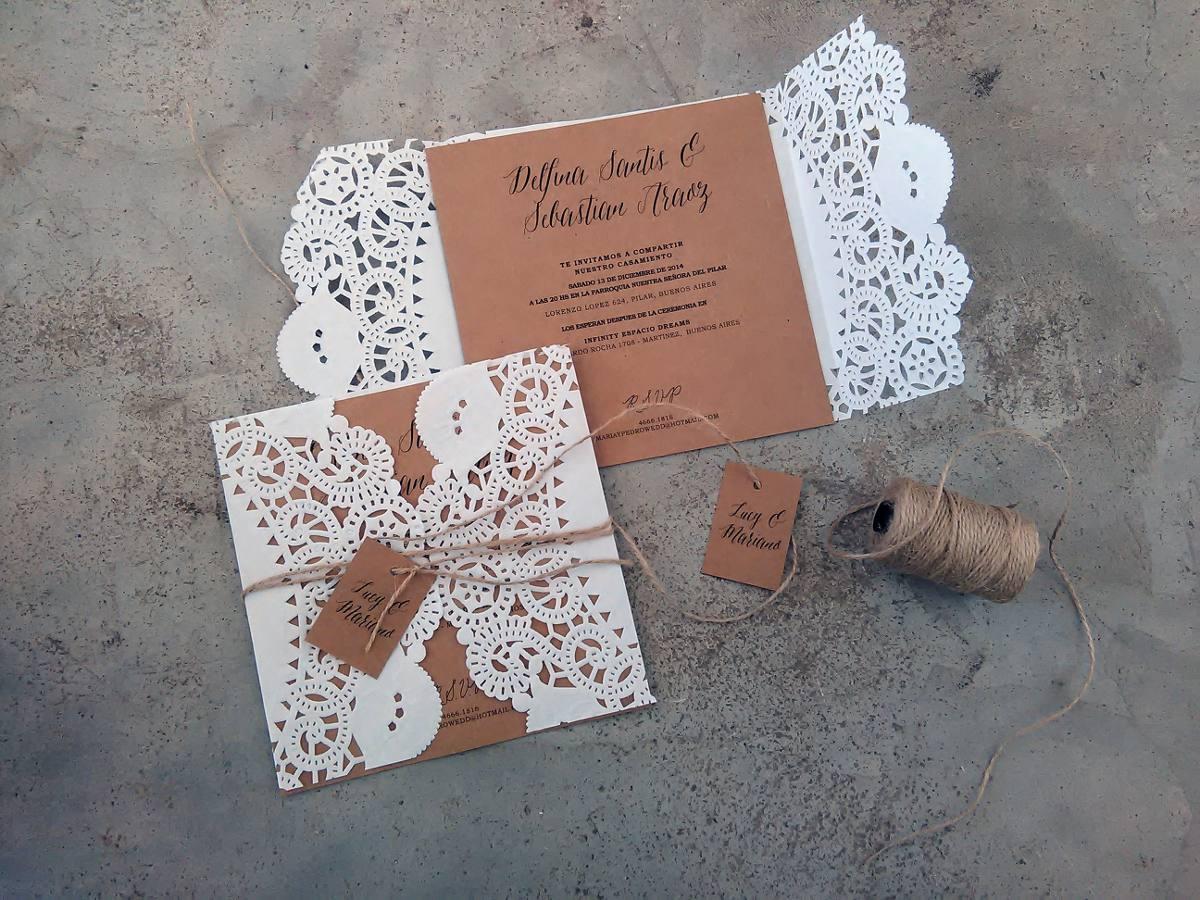 Invitaciones Boda Casamiento Tarjeta Con Blonda