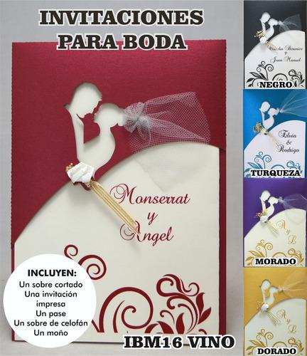 invitaciones boda ibm16 paquete de 75 pzas