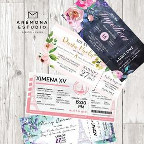 Invitaciones Boleto Personal Ticket Xv Años Paris Economica