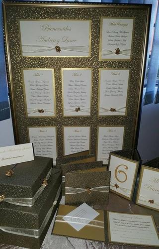 invitaciones, cajas para sobres, libro de firmas y mas