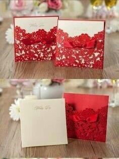 invitaciones casamiento caladas con flores color rojo boda
