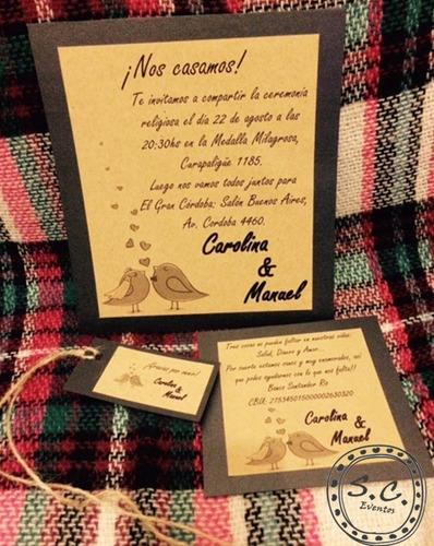invitaciones casamiento papel kraft