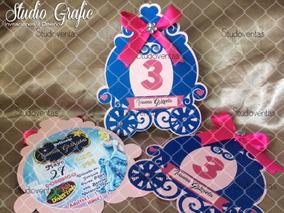 Invitaciones Cenicienta Carruaje Cumpleaños Princesas 10pzas