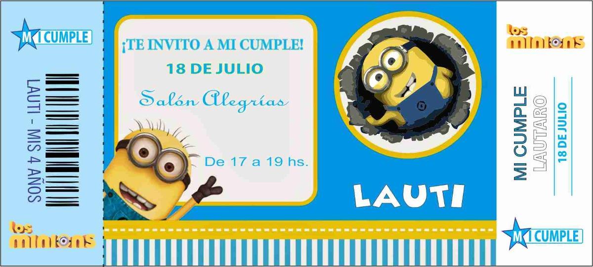 Invitaciones Cumple Minions Topa Sofia Peppa 24un Regalo