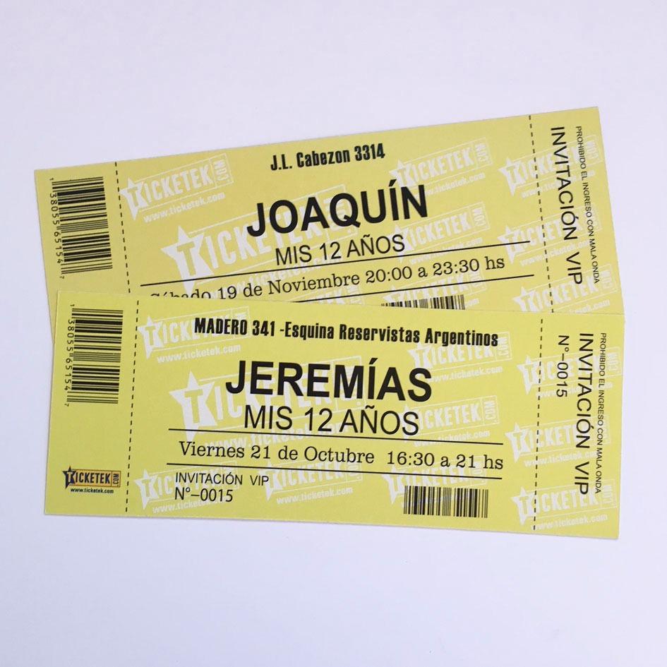 Invitaciones Cumpleaños 18 Años Varon Tarjetas Ticket X15