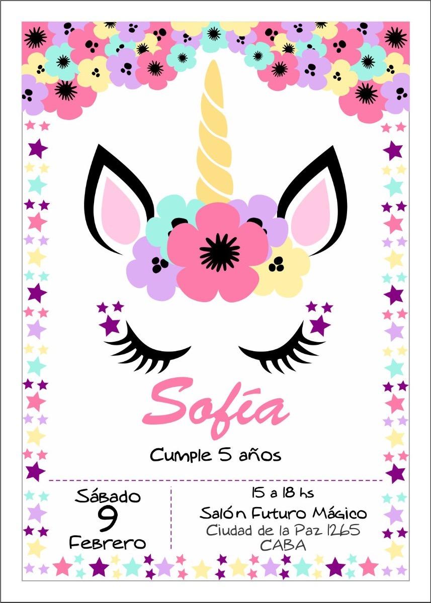 Invitaciones Cumpleaños Unicornio Imprimible
