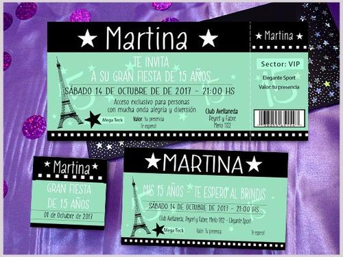 invitaciones de 15 tarjetas ticket violeta lila