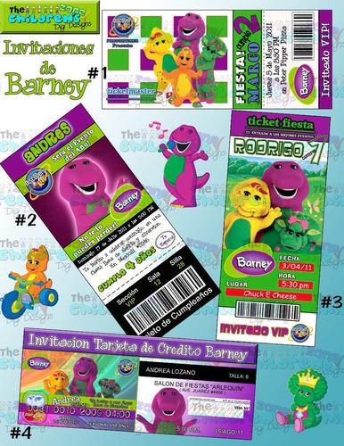 invitaciones de barney-invitaciones infantiles