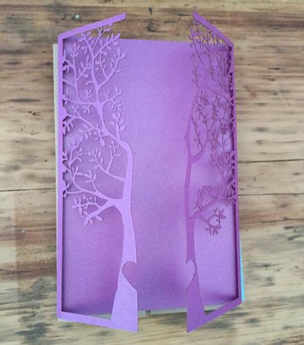 invitaciones de boda tarjetas de casamiento arbol estuche