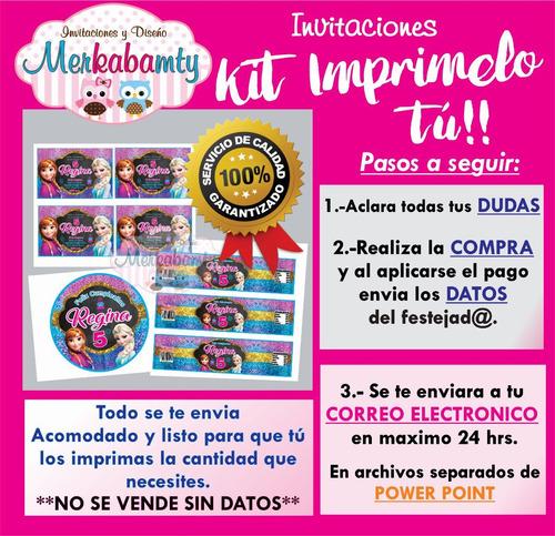 invitaciones de cumpleaños kit frozen  imprimelo tu!!