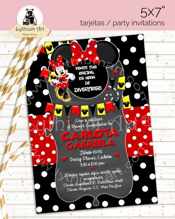 Invitaciones De Cumpleaños Minnie Mouse Fiesta Infantil