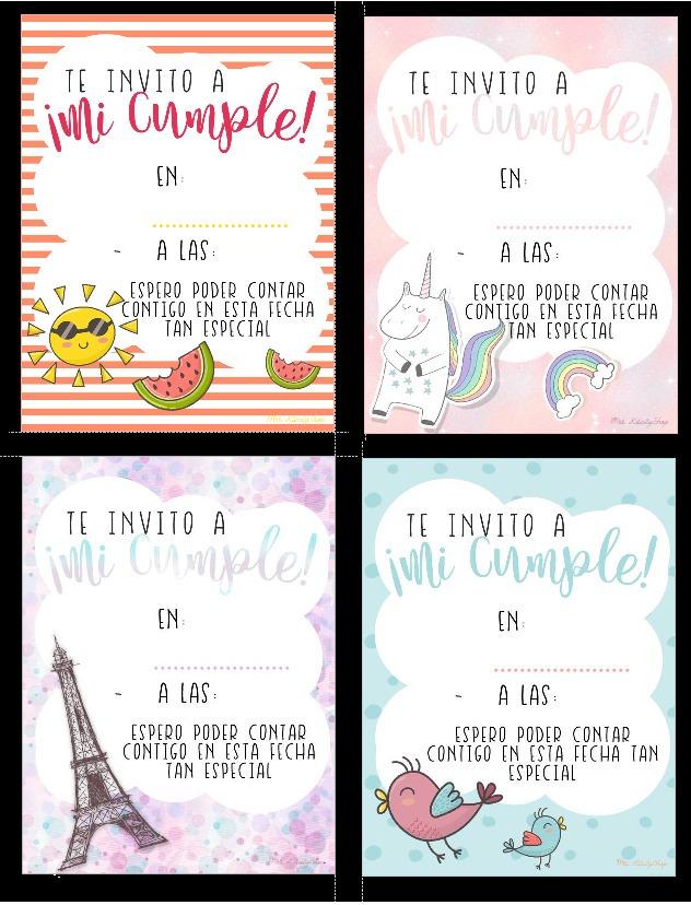 Invitaciones De Cumpleaños Para Imprimir 4 Diseños