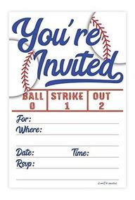 Invitaciones De La Fiesta De Béisbol 20 Count With Sobres