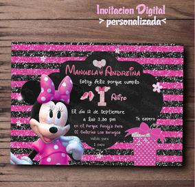 Invitaciones De Minnie Mouse Fucsia Rosa Dorada Whatsapp
