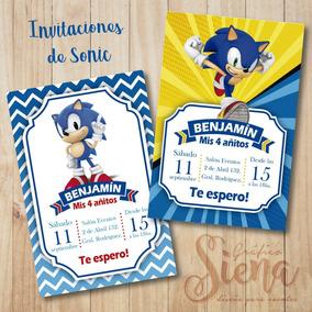 Invitaciones De Sonic Diseño Digital Y Para Imprimir