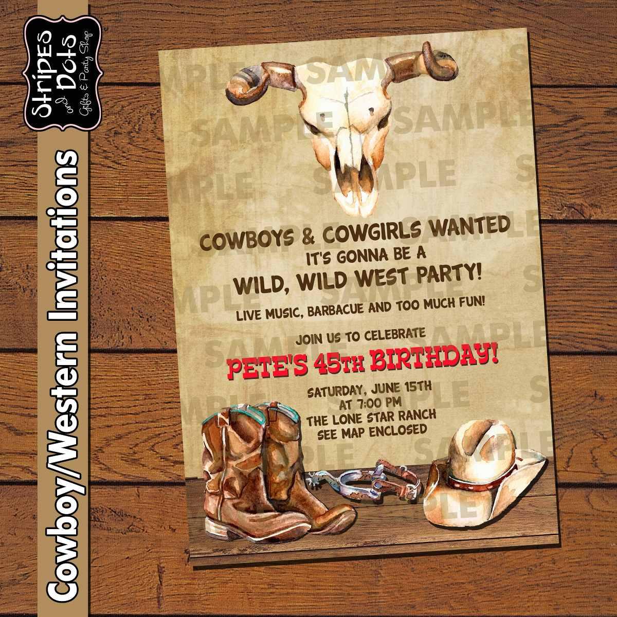 invitaciones de vaqueros cowboy s party western party