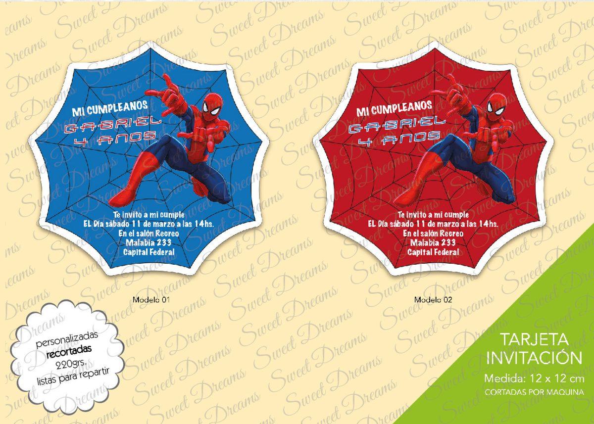 Invitaciones Del Hombre Araña Modelo Tela Cortadas Caladas