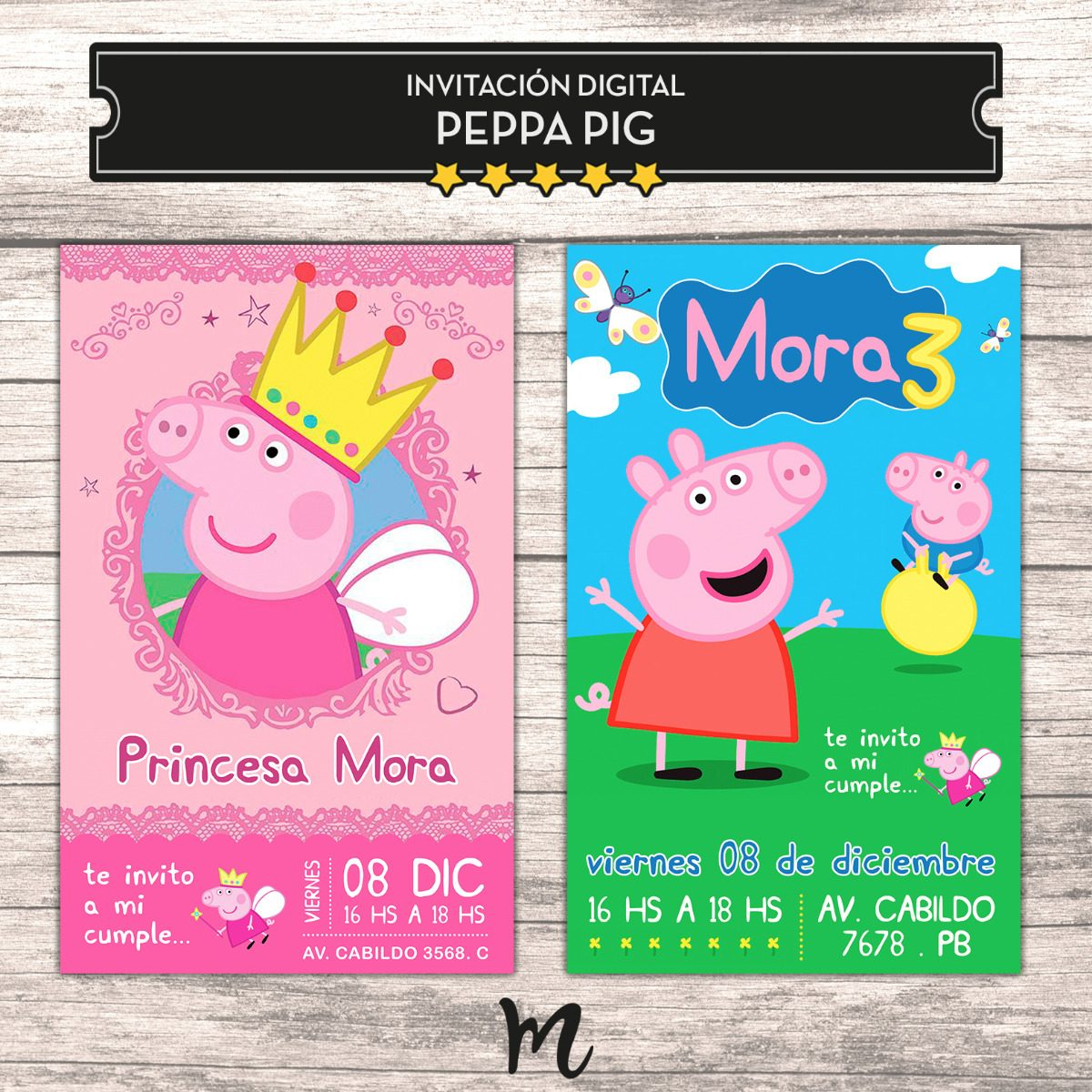 Invitaciones Digital Imprimible Tarjeta Cumple Peppa Pig 110 00