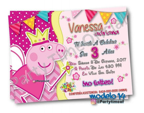 Invitaciones Digitales De Peppa Pig Tarjeta Whatsapp