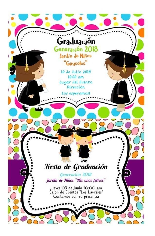Invitaciones Digitales Graduación Kinder Primaria Fiesta - $ 55.00 ...