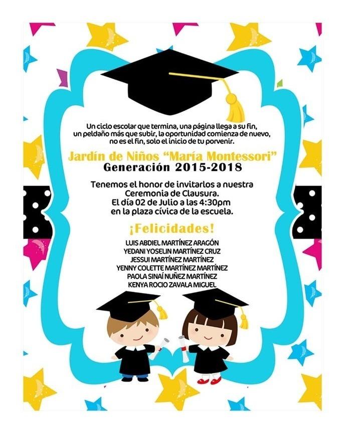 Invitaciones Digitales Graduación Kinder Primaria Fiesta