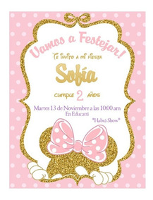 Invitaciones Digitales Minnie Dorado Rosa Gold