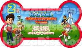 Invitaciones Digitales O Imprimibles Con Forma Paw Patrol