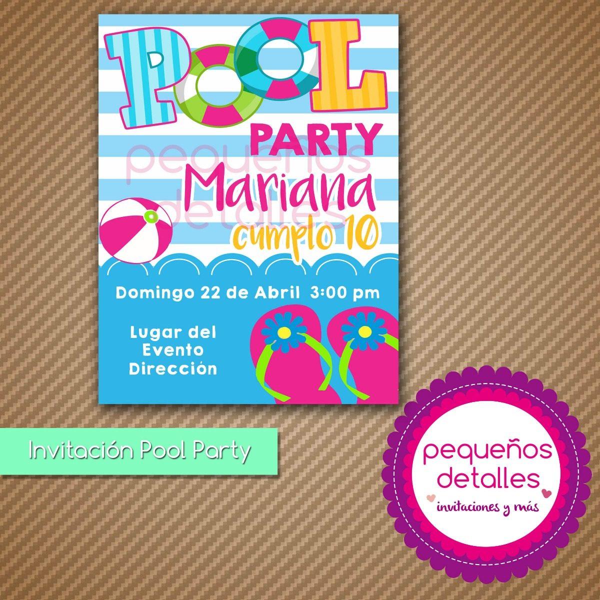 Invitaciones digitales pool party albercada fiesta piscina for Ideas para cumpleanos en piscina