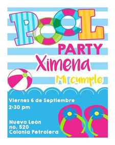 Invitaciones Digitales Pool Party Albercada Fiesta Piscina