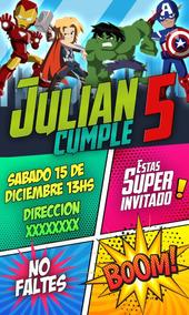 Invitaciones Digitales Superheroes Tarjetas De Cumpleaños