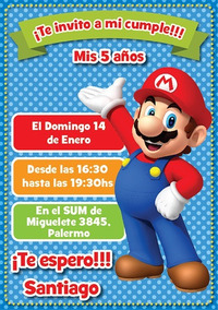 Invitaciones Digitales Whatsapp E Imprimibles Mario Bros