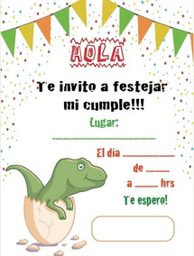 Invitaciones Dinosaurios X 10 Unidades
