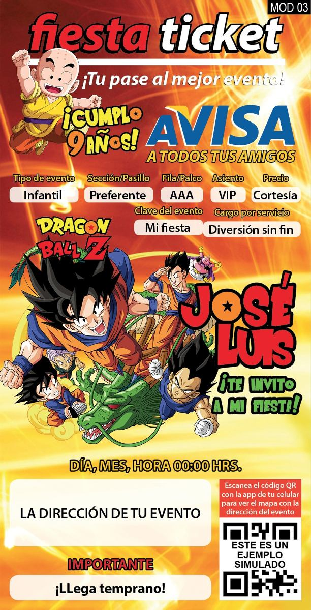 invitaciones dragon ball  dragon ball z personalizadas