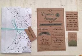 Invitaciones Economicas Para Boda O Xv Años Vintage 85pzas