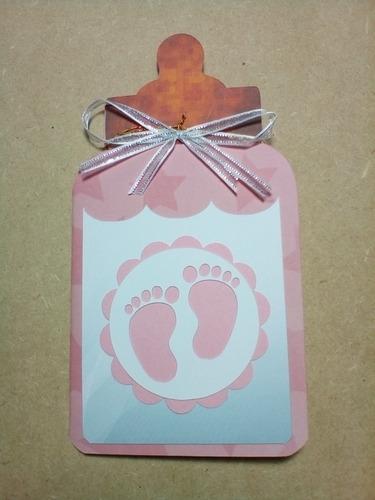 invitaciones en forma de mamila baby shower niña niño