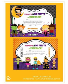 Invitaciones Fiesta De Disfraces X 2 P Imprimir