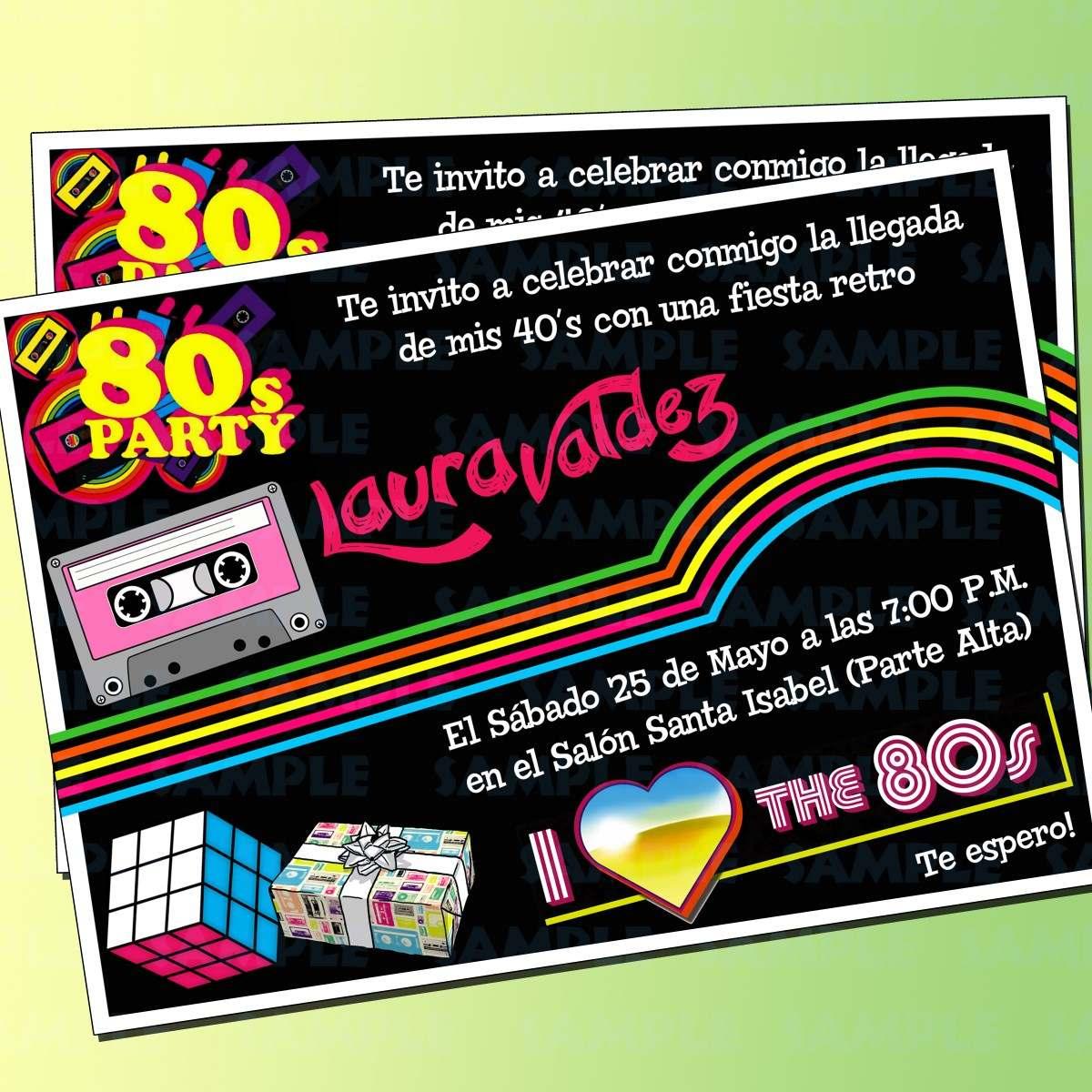 Invitaciones Retro - Fiesta 80's - Fiesta Retro - $ 100.00 ...
