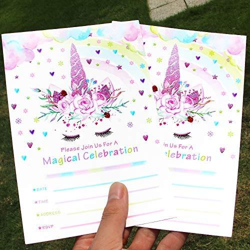 Tarjetas De Invitaciones De Unicornio Para Fiestas Con Sobre