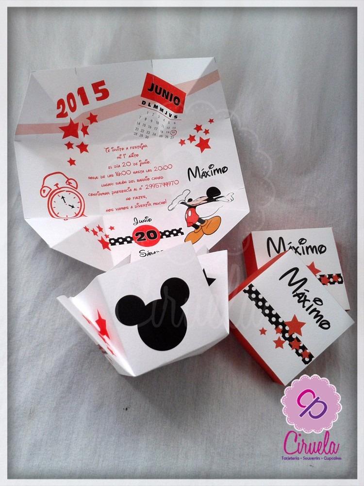 Invitaciones Formato Cajita Minnie Mickey Imprimible