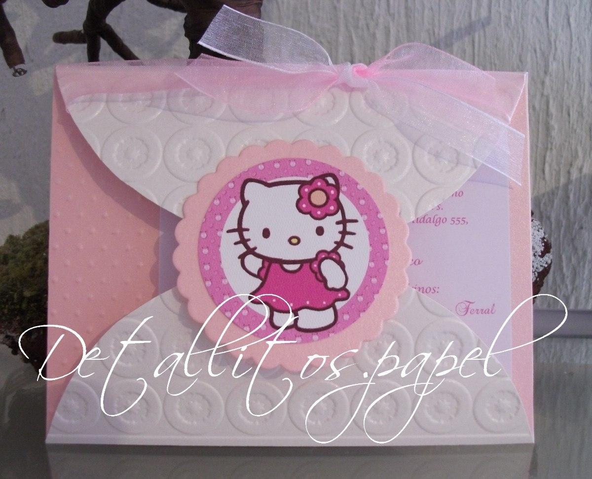 Invitaciones Hello Kitty Bautizo Cumpleaños Presentación 30