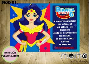 Invitaciones Imprimibles Y Digitales Mujer Maravilla