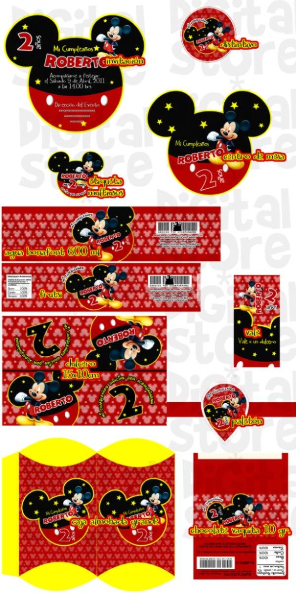 Invitaciones Infantiles Personalizadas Mickey Mouse Kit - $ 150.00 ...