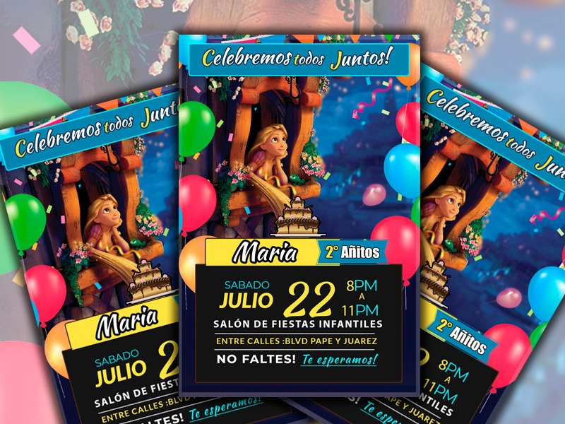Invitaciones Infantiles Rapunzel Listas Para Imprimir