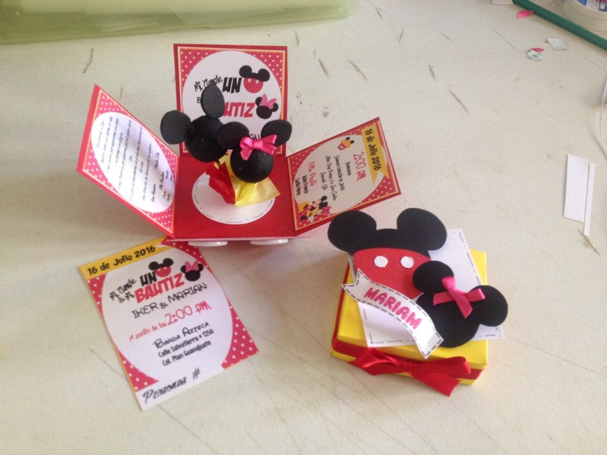 Invitaciones Mickey Mouse Modelo Caja Explosiva