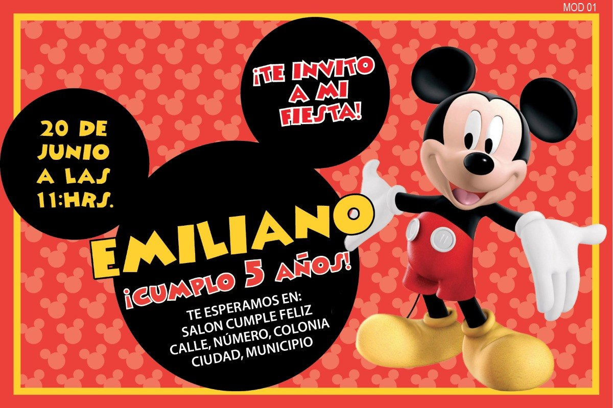 invitaciones mickey mouse personalizadas tama o postal 4x6 en mercado libre. Black Bedroom Furniture Sets. Home Design Ideas