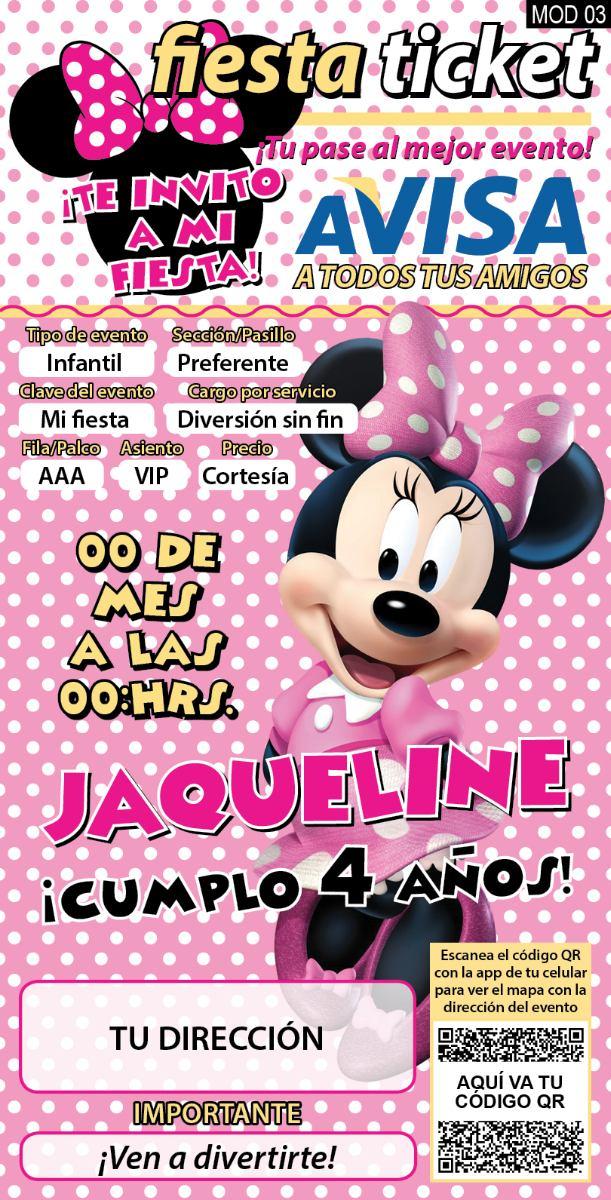 invitaciones mimi  minnie mouse personalizadas