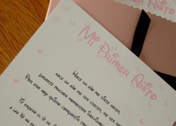 Invitaciones Minnie Bebé Sobre Puntilla Tarjetas Primer Año